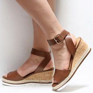 Shoes - New Brown Wedge Platform Espadrille Sandals